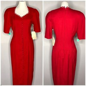 Vintage Red Linen 1980s Button Dropwaist Dress